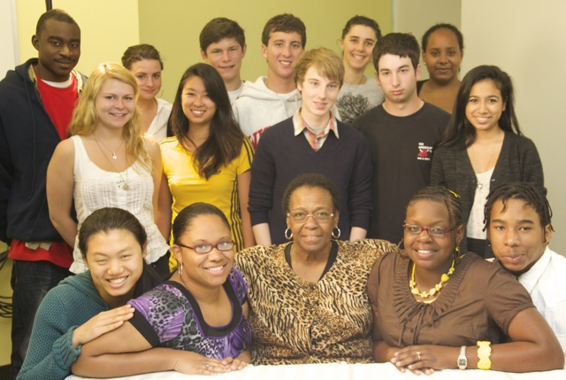 Brenda Travis with Students